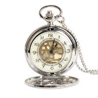 New Vintage Large Gold Face Pocket Watch Necklace Women Men Quartz Pocket Watch