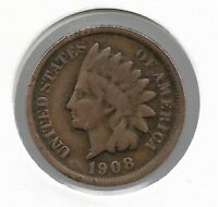 Rare Old Antique US 1908 Indian Head Penny Cent Collectible Collection Coin W12