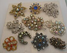 VINTAGE 1950's HUGE JOB LOT RHINESTONE AB CRYSTAL BROOCHES SPARE/REPAIR