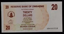 2006 Reserve Bank of Zimbabwe 20 Dollars Bearer Cheque Banknote AB6431525 P40