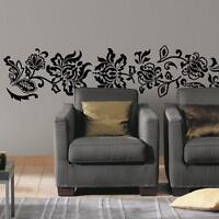 BLACK DAMASK Vintage Floral Scroll Ornate Wall Mural Decals Stickers Wall Decor