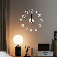 DIY Wall Clock 3D Mirror Sticker Wall Sticker Home Office Decorative Clock