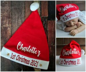 BABY BEANIE 1st FIRST CHRISTMAS SANTA HAT PERSONALISED CUSTOM NAME XMAS RED 2021