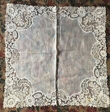 Fine Antique 1800's Handmade Bobbin Lace Belgian Brussels Wedding Handkerchief