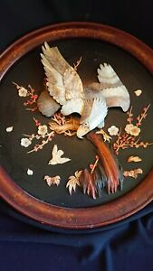 Stunning Antique Chinese Eagle Picture Mother Of Pearl & Bone Inlay AF
