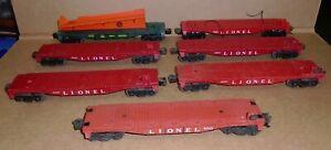 """% """"Lot of (7) Lionel O-Gauge Flatcars"""" for Restoration, Parts or Kit-Bashing"""