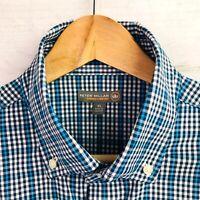 Peter Millar Summer Comfort Blue Black Check Long Sleeve Button Shirt Mens Sz L