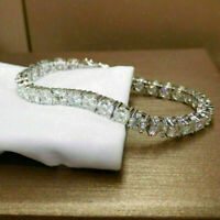 """10 Ct Round-Cu Simulated Moissanite 7"""" Tennis Bracelet 14k White Gold Over"""