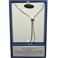 Silver Plated Long Diamonte Necklace with Adjustable Bead 40cm Drop