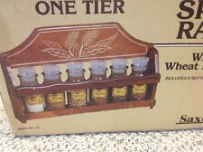 Vintage Glass Spice Bottle Jar Apothecary Stoppers Made in Japan NOS wooden rack