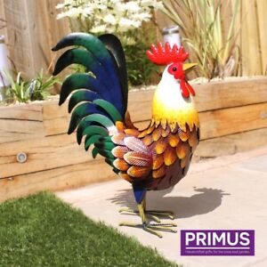 Large colourful hand made metal Farmyard Rooster -out or inside.