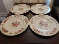 "Syracuse Old Ivory China O.P.CO.""Sharon"" Pattern 4 Dinner Plates 10 1/4"" Vintage"