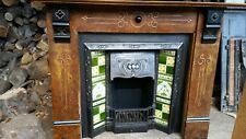 ORIGINAL VICTORIAN CAST IRON TILED FIREPLACE AND VICTORIAN  SLATE SURROUND