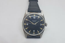 RARE USED 60'S ZENITH PILOT BLACK DIAL MANUAL WIND MAN'S WATCH