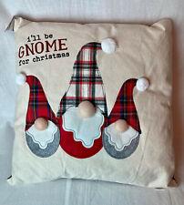 """Mud Pie Home Christmas Gnome Applique 18"""" Square Throw Holiday Pillow"""