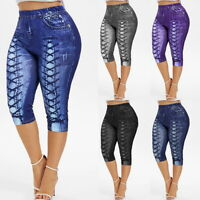 Ladies Denim Print Pants High Waist Fitness Casual Cropped Trousers Running Yoga