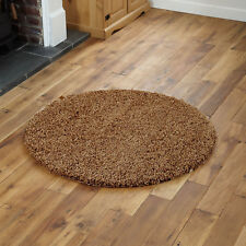 Large Modern Thick 5cm High Pile Plain Beige Shaggy Circle Round Rug 133 X 133cm