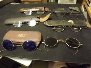 ANTIQUE WIRE FRAME GLASSES 6 PAIR 5 WITH LEATHER CASE RARE BLUE LENSE 1 SUNGLASS