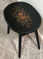 VINTAGE L. HITCHCOCK FOLDING WOOD MINI SIDE TABLE, BLACK WITH FLORAL DESIGN