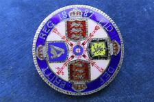 SUPERB Victorian Silver 1887 DOUBLE FLORIN Enamelled Coin brooch