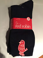 BNWT Boys or Girls  Red Robin Brand Trafalgar 4 Pack Navy School Socks Sz 7-11