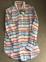 NEW JOULES JEANNE LONG SLEEVE LINEN SHIRT TUNIC TOP SIZE 6 Blue & Pink Stripe