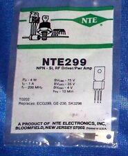 NTE Electronics NTE299 Silicon NPN Transistor RF Power Amp. Driver.
