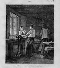 Stampa antica LABORATORIO di FABBRO 1870 Old Print