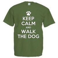 KEEP CALM AND WALK THE DOG T-SHIRT Christmas Present Birthday Father's Day Gift