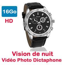 Montre Mini Caméra Espion 16 GO Vision Nocturne automatique Chrono argent