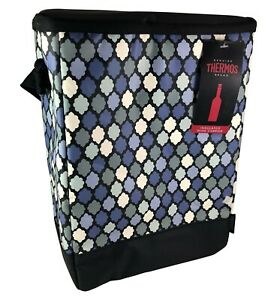 Genuine Thermos Brand Insulated Wine Carrier Picnic Dinner Parties Zippered Blue