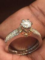 Pave 1,12 Cts Runde Brilliant Cut Diamanten Jahrestag Ring In Feine 14K Weißgold