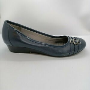 Life Stride Womens Size 8.5 US Farrow Blue Round Toe Wedge Slip On Shoes Buckles