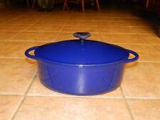 Rachael Ray Cobalt Blue Enamel Oval Cast Iron 6 Qt Dutch Oven With Lid