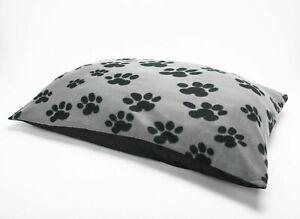 GREY Fleece Paw Design Large Dog Beds Warm Pet Washable Zipped Mattress Cushion