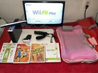Nintendo Wii Console and Balance Board With Wii Fit Plus Games Workout Bundle