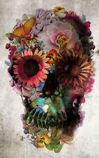 Framed Print - Gothic Flower & Butterfly Skull (Picture Poster Horror Goth Art)
