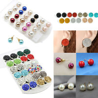 Fashion Women Pearl Crystal Rhinestone Ear Studs Elegant Earrings Jewelry Gift