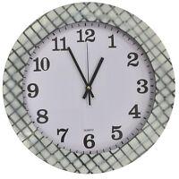 Large 35cm Round Wall Clock With Quartz Movement Checkered White & Black Frame