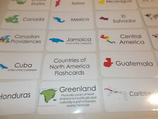Countries of North America Flash Cards. Preschool Picture and Word flash cards.