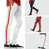 Mens Hip Hop Poly Side Ankle Zip Long Drawstring Track Pants RAINBOW Stripe