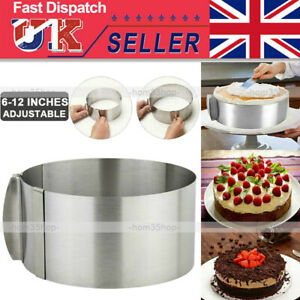 """6 - 12"""" Cake Ring Mold Round Mousse Mould Stainless Steel Baking Tool Adjustable"""