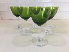 6 verres à vin blanc uni verts Modèle EVA vert .H:126 mm VAL ST LAMBERT