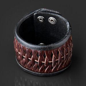 Leather Braided Bracelet Braun Biker Bracelet Weave Arm Band Rocker Men's LB38