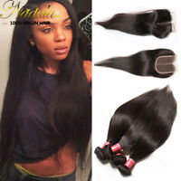 """Malaysian Straight Human Hair 3 Bundles With 16"""" Free/Middle/Three Part Closure"""
