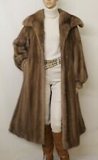 REAL MINK FUR SAGA PASTEL BROWN SABLE HUE LONG SWING COAT 8-10-12-14 UK/L VISONE