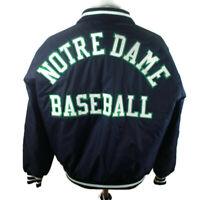 🔴 Vintage 90s Notre Dame Fighting Irish NCAA Satin Baseball Jacket DeLong Sz XL