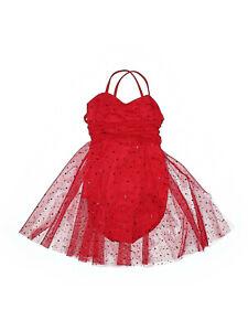 Girl Balera Red D3833 Glitter Mesh Wrap Tie Lyrical Dance Dress Costume Size LC