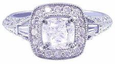 14k White Gold Cushion Cut Diamond Engagement Ring Antique Bridal Halo 1.55ctw