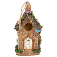 Natural Brown Faux Stone  8.25x4.5 Resin Decorative Hanging Outdoor Bird Feeder